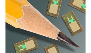 Wireless brain sensors developed by researchers at Washington University School of Medicine in St. Louis and the University of Illinois at Urbana-Champaign, are smaller than a pencil tip and can monitor intracranial pressure and temperature before being absorbed by the body, negating the need for surgery to remove the devices. (Photo courtesy of Washington University School of Medicine)