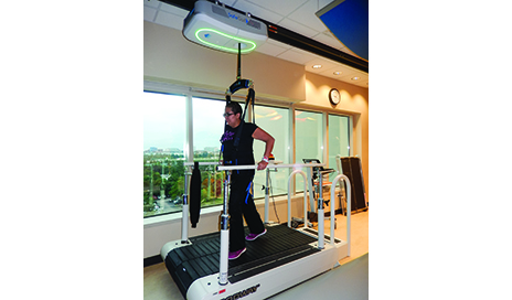Split-belt treadmill training is one method of improving gait symmetry. It is an adaptation paradigm where one leg is driven to move faster than the other. Patients learn a new spatial and temporal coordination pattern between limbs when the belts are driven at different speeds.