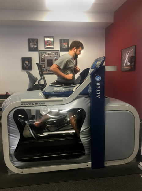 Among older patients, the AlterG is useful in treating knee injuries to reduce compensatory strategies while allowing patients to continue to walk or run.
