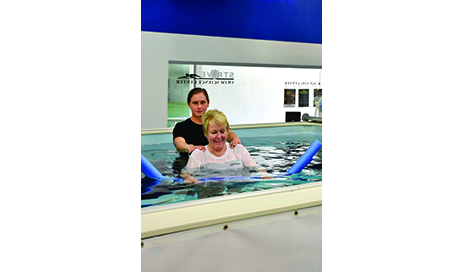 After TKA patient works on single limb stance, using a noodle for mild balance assist. Therapist provides manual support as patient learns to bear weight on involved extremity in aquatic setting. The pool allows us to progress this activity by adding a current of variable speeds, in various directions to challenge the patient. Patients will then ambulate into the current, forward, backward, and sideways to work on gait in multiple directions, challenging balance and stability.