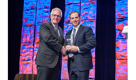SPEAR Physical Therapy's CEO and co-founder, Dan Rootenberg, PT, DPT, CSCS, accepts the Jayne L. Snyder Practice Award during the American Physical Therapy Association's PPS Annual Conference in Las Vegas in October 2016. (Photo courtesy of SPEAR Physical Therapy)
