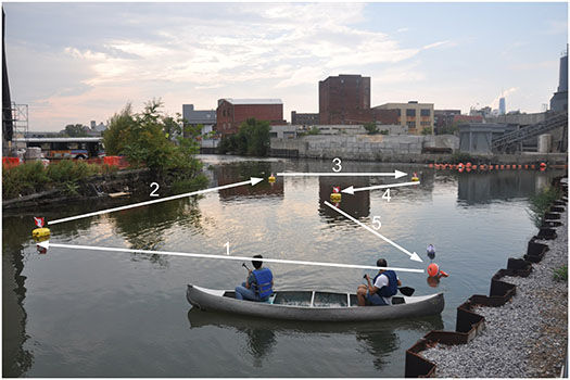 """In the """"citizen science"""" project conducted by researchers at NYU Tandon School of Engineering, volunteer participants controlled a small boat monitoring the polluted Gowanus Canal in Brooklyn by performing hand and arm motions using the Microsoft Kinect motion capture system. (Photo courtesy of NYU Tandon, PLoS ONE)"""