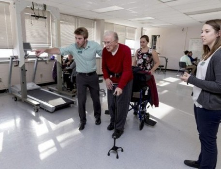 Clarkson University doctor of physical therapy students work with stroke patients. (Photo courtesy of Ting-Li Wang, Clarkson University)