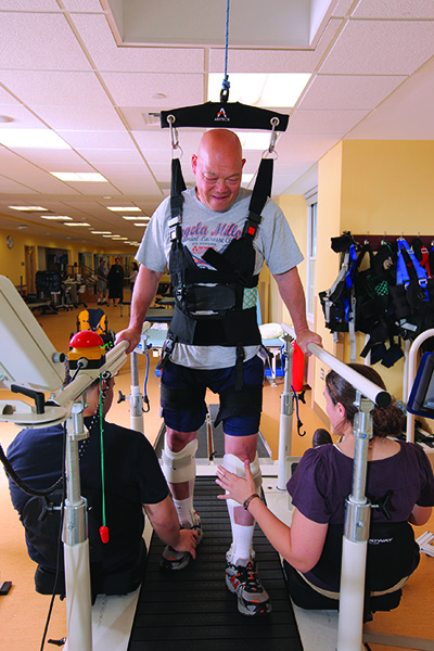 The ZeroG Lite from Aretech, Ashburn, Va, allows patients to safely practice gait training tasks by altering the amount of body-weight support.