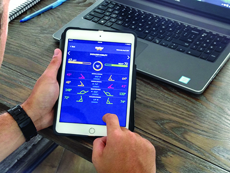 An app transmits time-synced biomechanical data in real time via Bluetooth. This connection between the variables of body performance and movement analysis can improve how therapists treat, release, and monitor a patient after discharge.