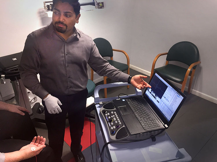 Analysis of EMG using Cadwell software.