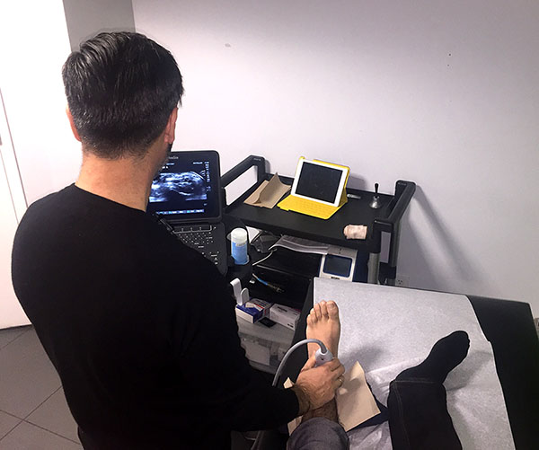 Evaluating a patient with diagnostic ultrasound.