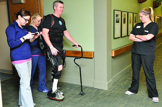 Advanced technologies are used throughout the continuum of care to address gait and balance retraining. One device therapists use, the Ekso GT (pictured above), provides real-time feedback with the ability to adapt throughout a training session to tailor to a patient's specific rehabilitation needs.