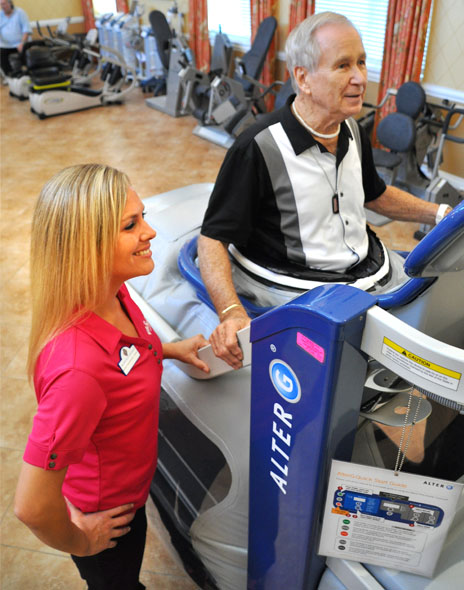 The anti-gravity treadmill uses air differential pressure to help with rehab activities that improve walking.