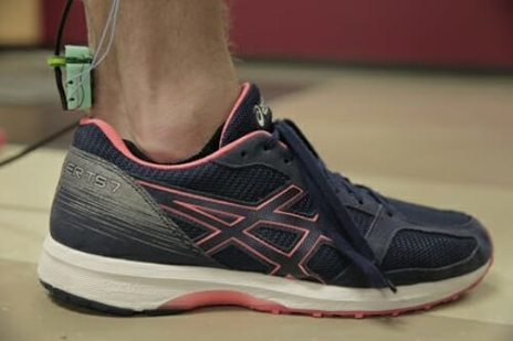 A duo of University of Wisconsin-Madison engineers have designed a device that can be placed over the Achilles tendon and measure one's postinjury tendon fitness. (Photo courtesy of Renee Meiller)