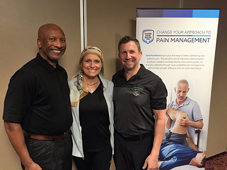 Pictured, from left to right, are Benny Vaughn, MT, ATC; Sue Falsone, PT, ATC; and Jay Greenstein, DC, who led the Safer Pain Relief Summit held recently in Phoenix.