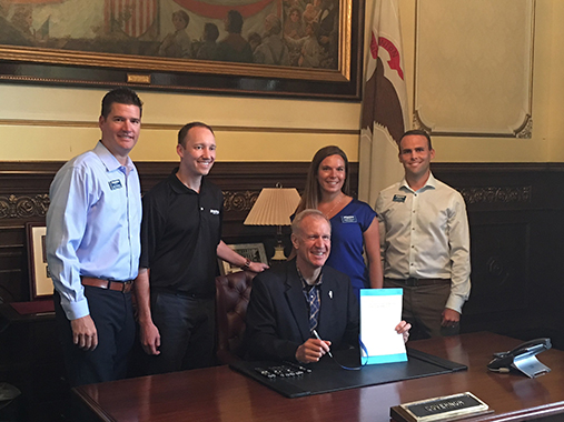 Illinois Gov Bruce Rauner has signed into law a bill that eliminates the requirement for patients to obtain a doctor's prescription prior to seeking treatment from a licensed physical therapist. Members of the Illinois Physical Therapy Association, including Athletico physical therapists and Athletico vice president of clinical operations Kevin Richardson, attended the signing ceremony.