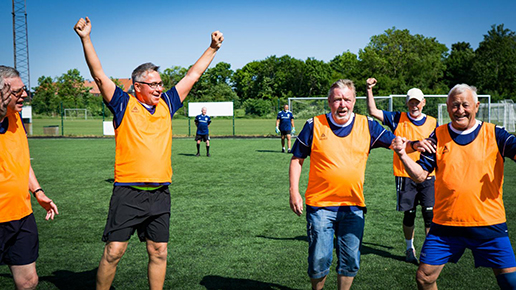 The 55- to 70-year old women and men participating in the present study had poor bone health, poor metabolic fitness, and poor aerobic fitness. The combination of football training and dietary advice produced good results on all parameters, researchers suggest. (Photo courtesy of Bo Kousgaard, Department of Sports Science and Clinical Biomechanics, Faculty of Health Sciences at the University of Southern Denmark)