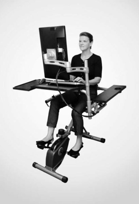Pedaling at a self-selected light-intensity pace while at work could improve insulin responses to a test meal, according to kinesiologists from UMass Amherst. (Photo courtesy of UMass Amherst/Catrine Tudor-Locke)